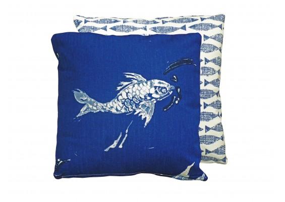 Deep blue fish cushion